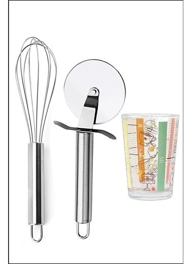 Kitchen Love 3 Parça / Çelik-Pizza Hamur Ruleti+21Cm Çırpıcı+1 Adet Cam Ölçü Bardağı Renkli